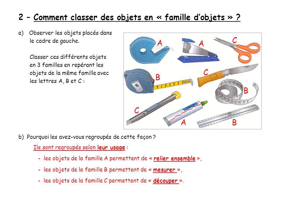 2 – Comment classer des objets en « famille d'objets »