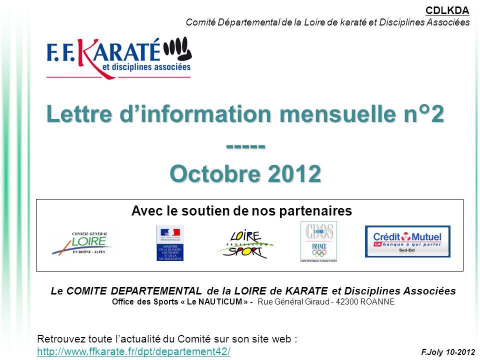 Lettre d'information mensuelle n°2 ----- Octobre 2012