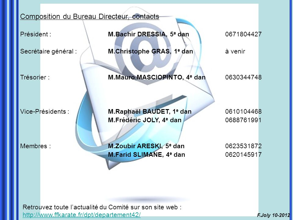 Composition du Bureau Directeur, contacts