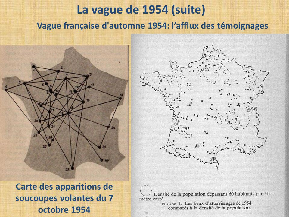Carte des apparitions de soucoupes volantes du 7 octobre 1954