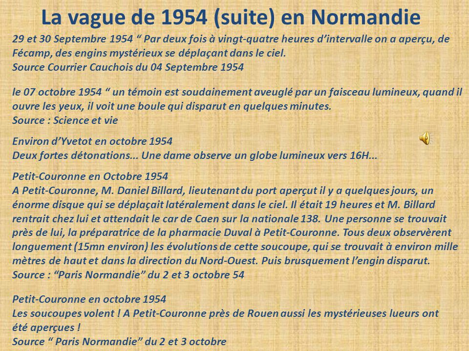 La vague de 1954 (suite) en Normandie