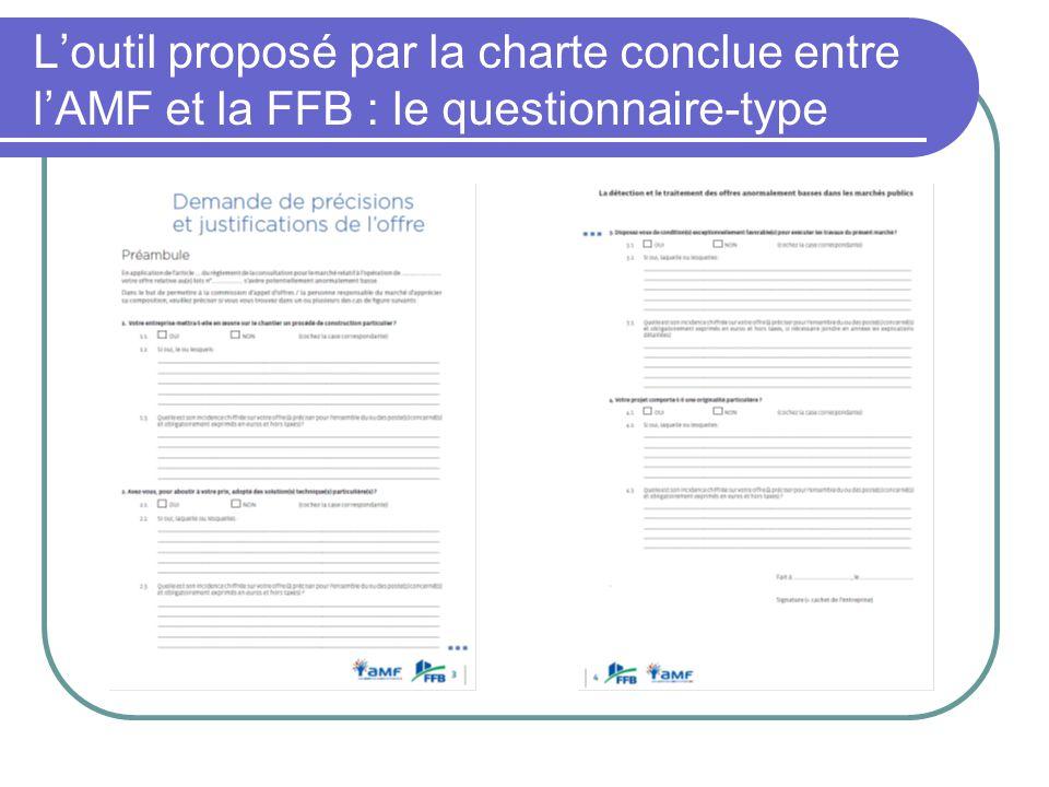 L'outil proposé par la charte conclue entre l'AMF et la FFB : le questionnaire-type