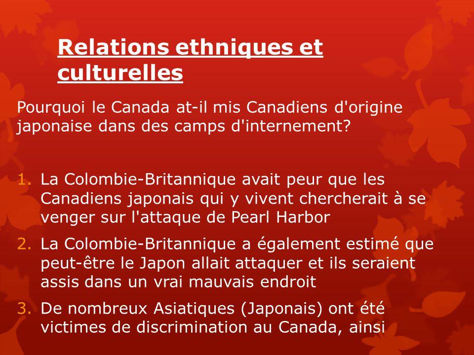 Relations ethniques et culturelles