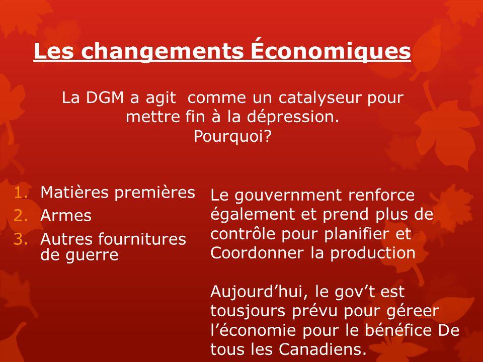 Les changements Économiques