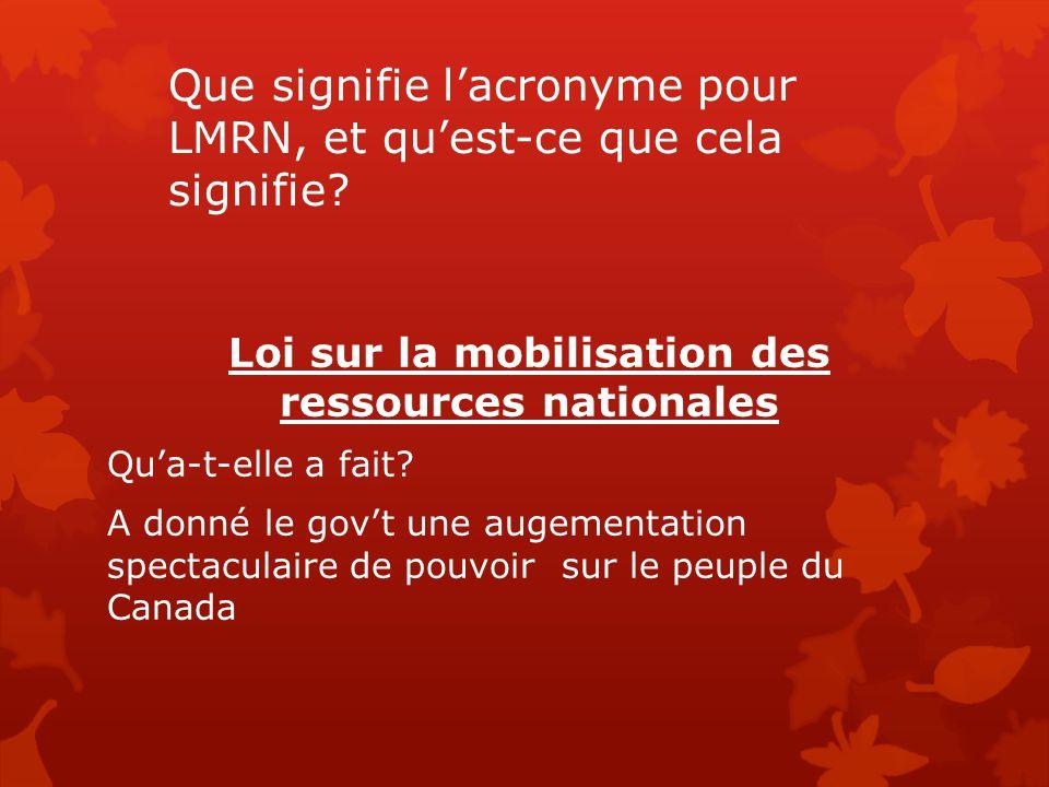 Que signifie l'acronyme pour LMRN, et qu'est-ce que cela signifie