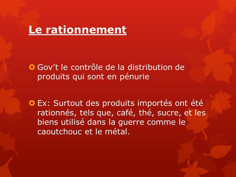 Le rationnement Gov't le contrôle de la distribution de produits qui sont en pénurie.