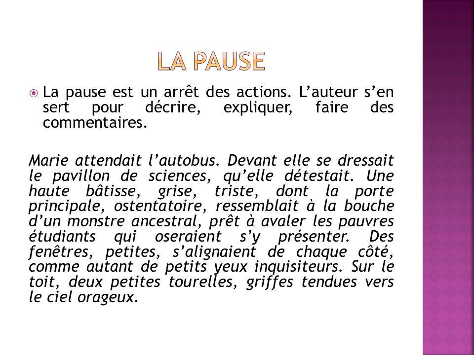 La pause La pause est un arrêt des actions. L'auteur s'en sert pour décrire, expliquer, faire des commentaires.
