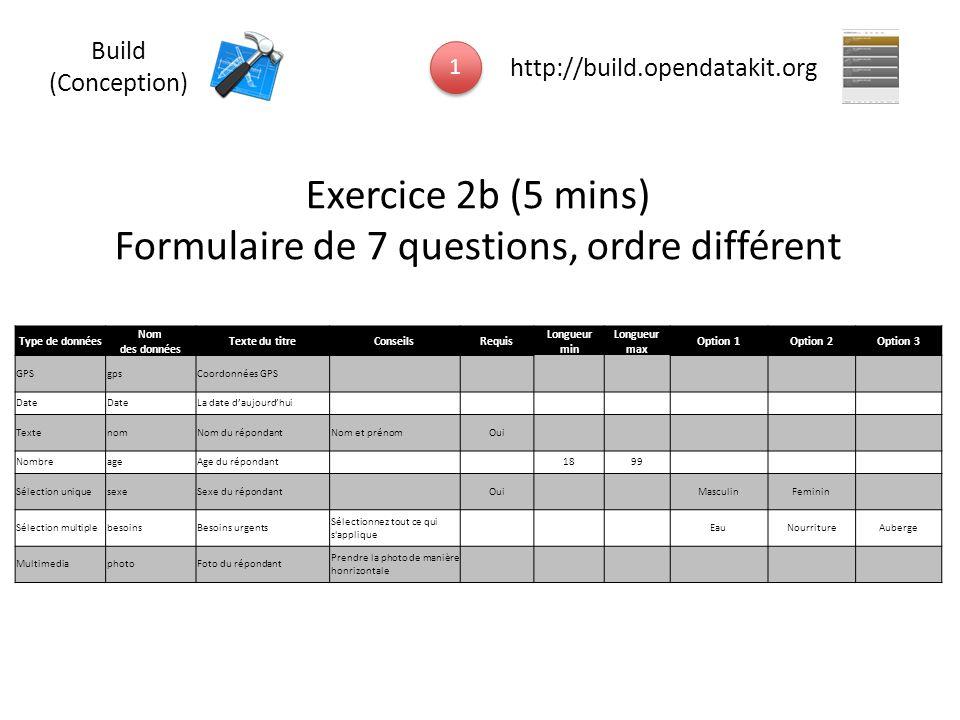 Formulaire de 7 questions, ordre différent