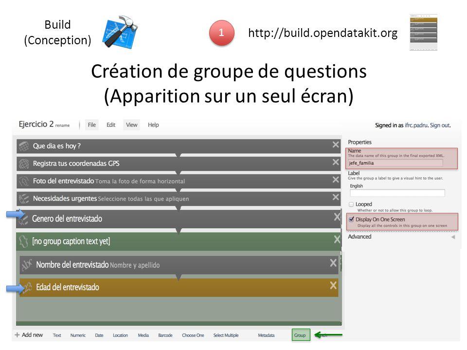 Création de groupe de questions (Apparition sur un seul écran)