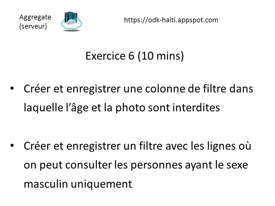 Aggregate (serveur) https://odk-haiti.appspot.com. Exercice 6 (10 mins)