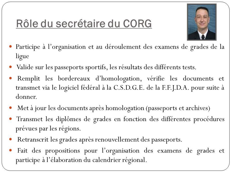 Rôle du secrétaire du CORG