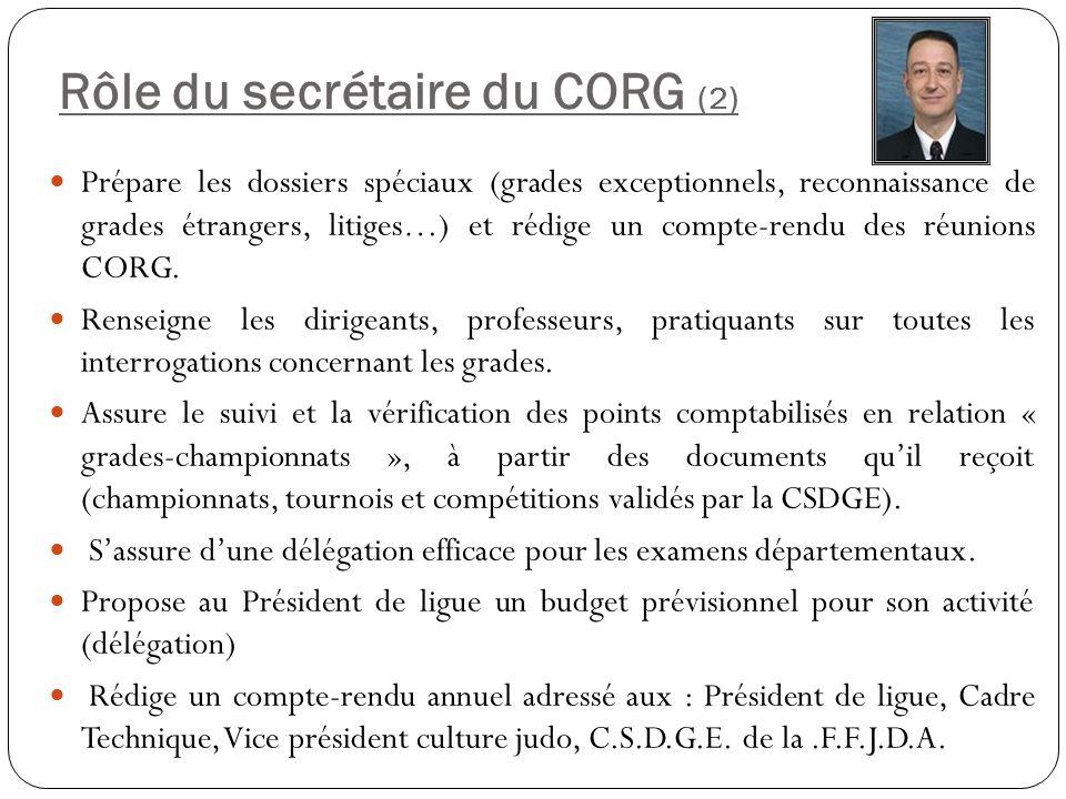 Rôle du secrétaire du CORG (2)