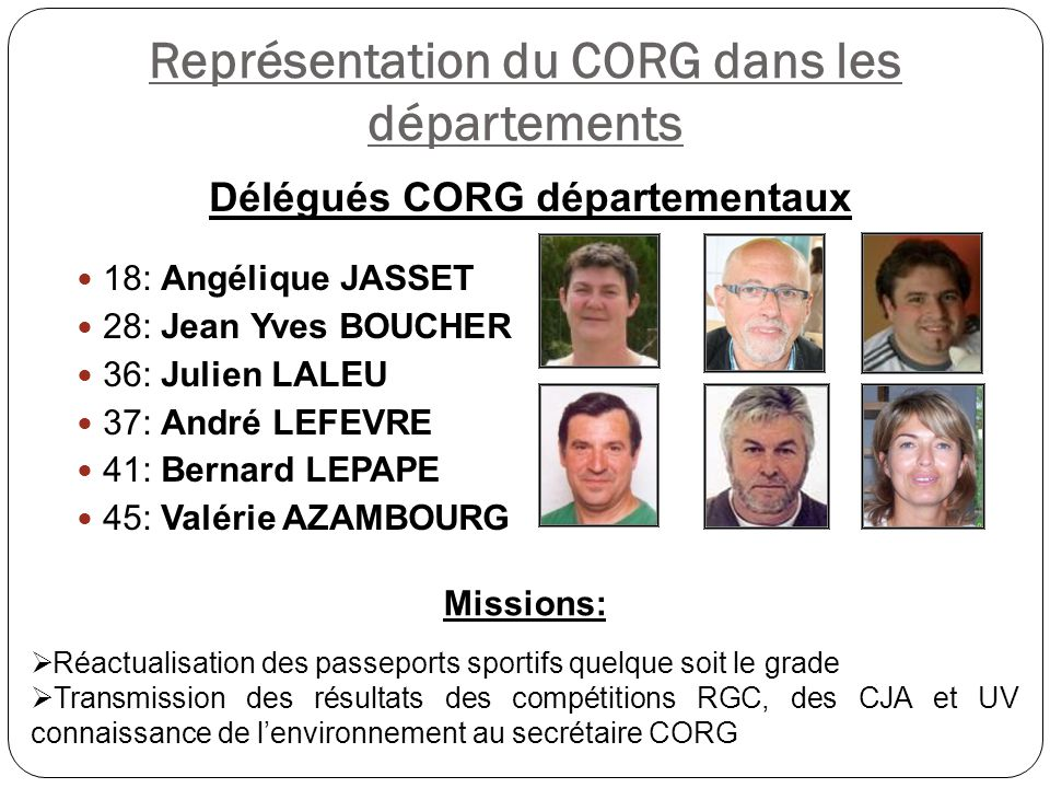 Représentation du CORG dans les départements