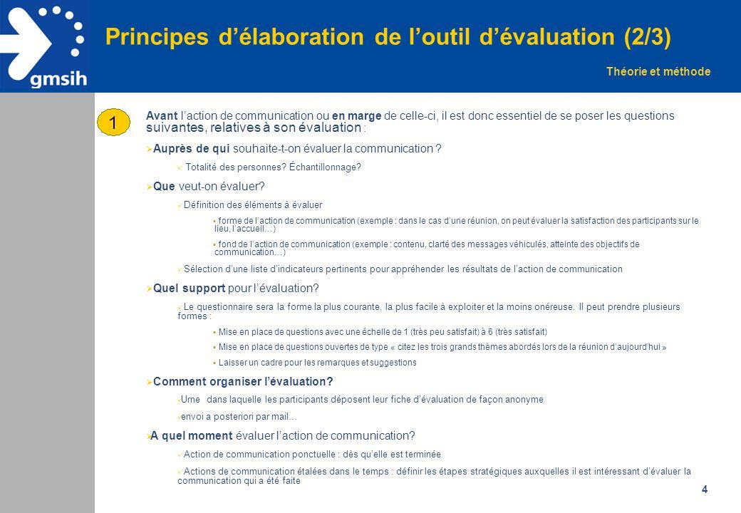 Principes d'élaboration de l'outil d'évaluation (2/3)