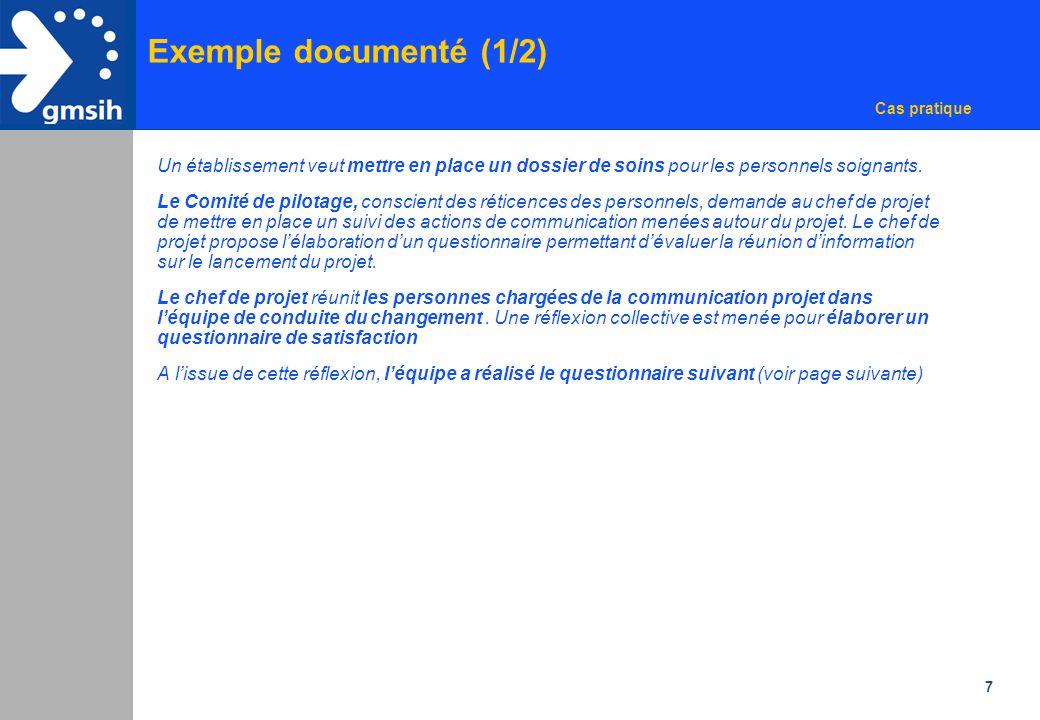 Exemple documenté (1/2) Cas pratique. Un établissement veut mettre en place un dossier de soins pour les personnels soignants.