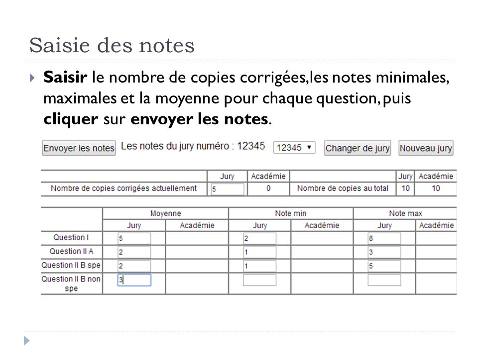 Saisie des notes