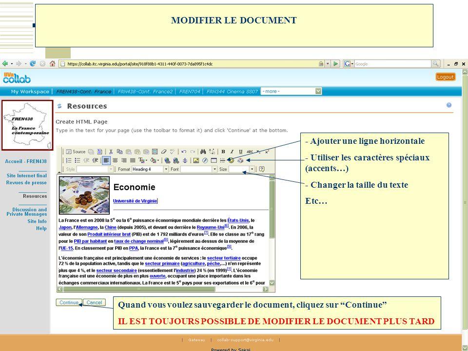 MODIFIER LE DOCUMENT - Ajouter une ligne horizontale