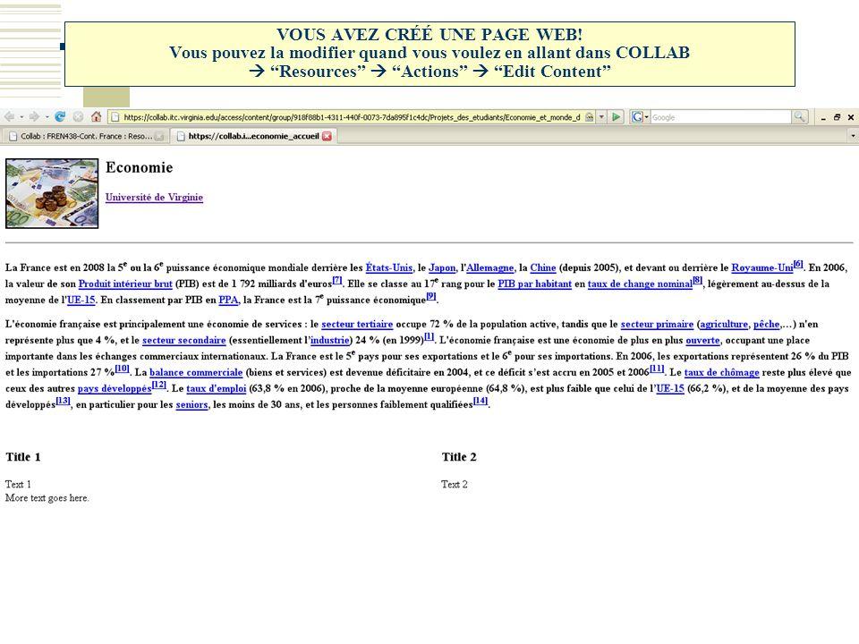 VOUS AVEZ CRÉÉ UNE PAGE WEB