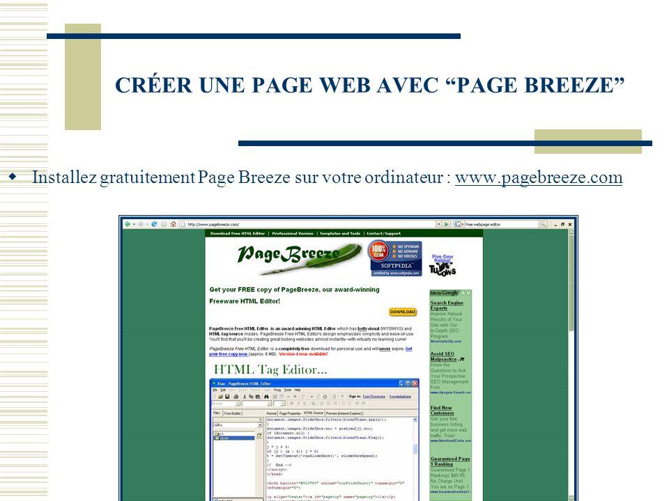 CRÉER UNE PAGE WEB AVEC PAGE BREEZE