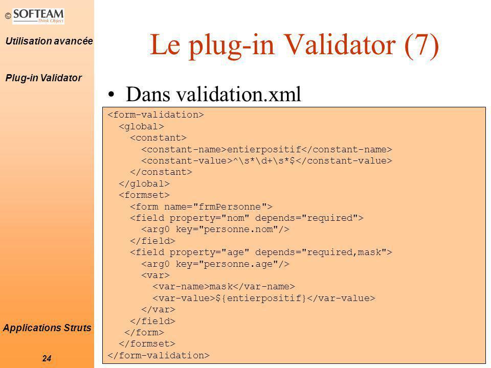 Le plug-in Validator (7)