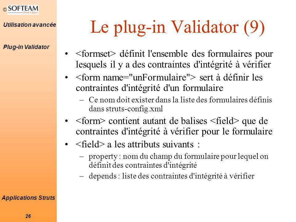 Le plug-in Validator (9)