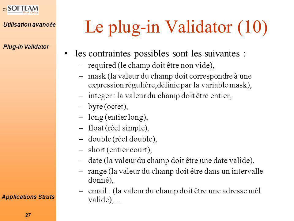 Le plug-in Validator (10)
