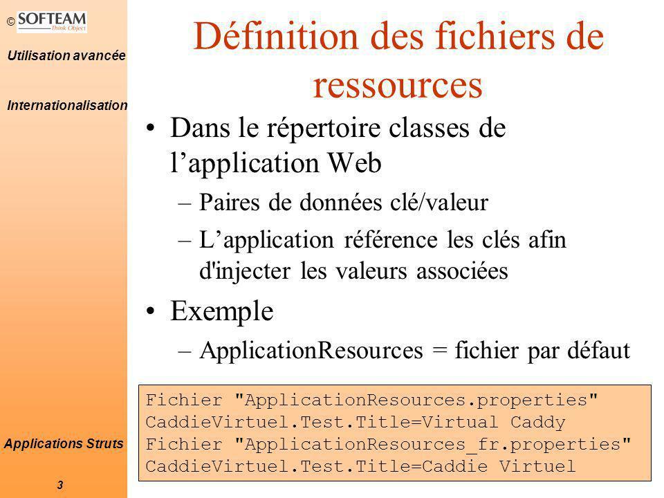 Définition des fichiers de ressources