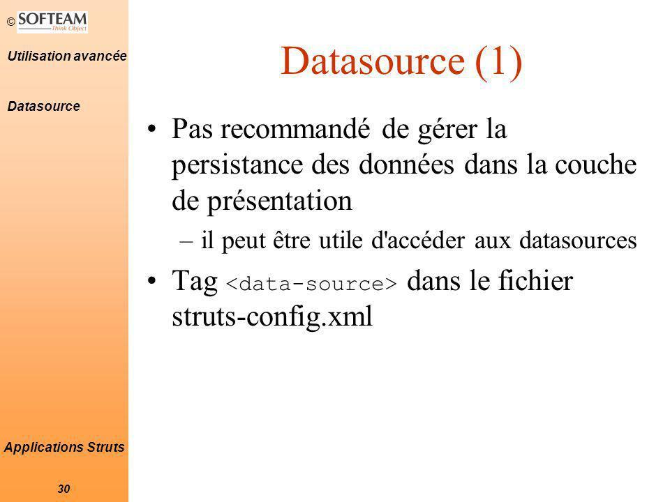Datasource (1) Datasource. Pas recommandé de gérer la persistance des données dans la couche de présentation.