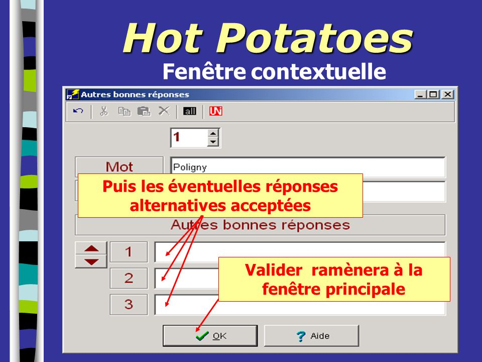 Hot Potatoes Fenêtre contextuelle