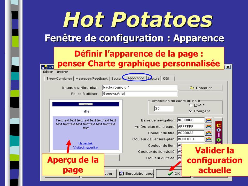 Hot Potatoes Fenêtre de configuration : Apparence