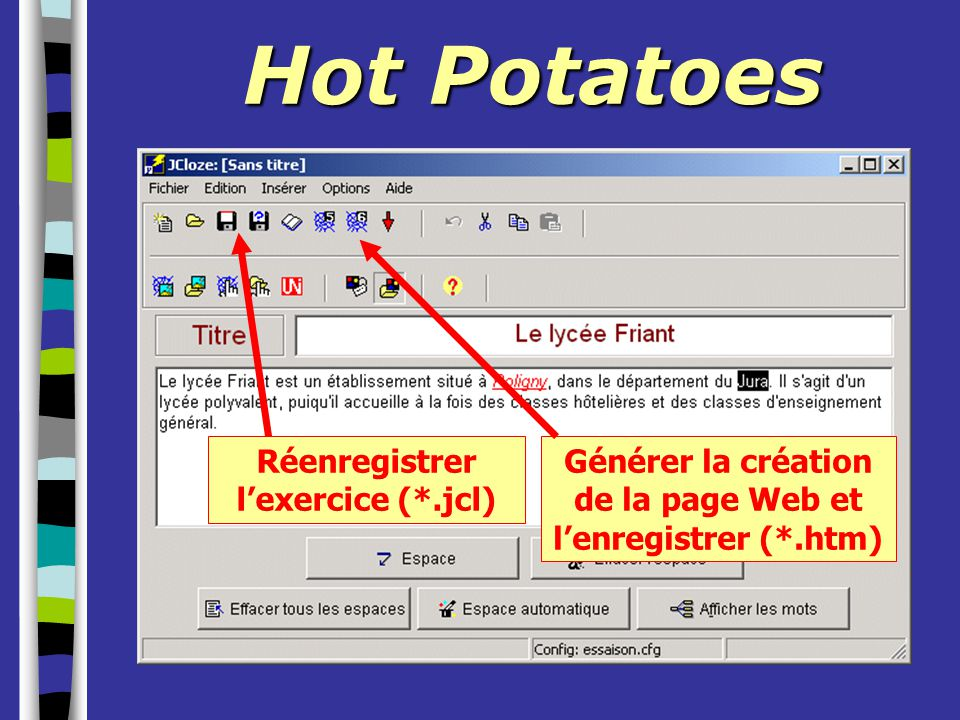 Hot Potatoes Réenregistrer l'exercice (*.jcl)