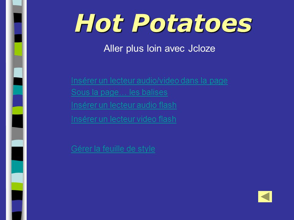 Hot Potatoes Aller plus loin avec Jcloze