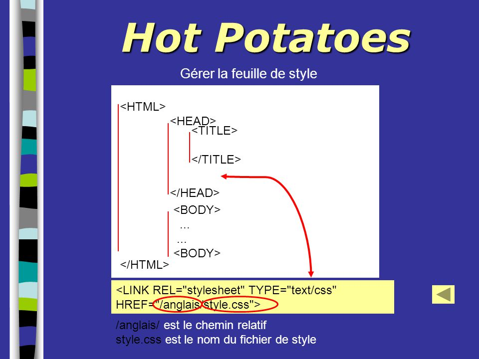 Hot Potatoes Gérer la feuille de style <HTML> </HTML>