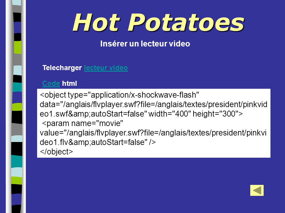 Hot Potatoes Insérer un lecteur video