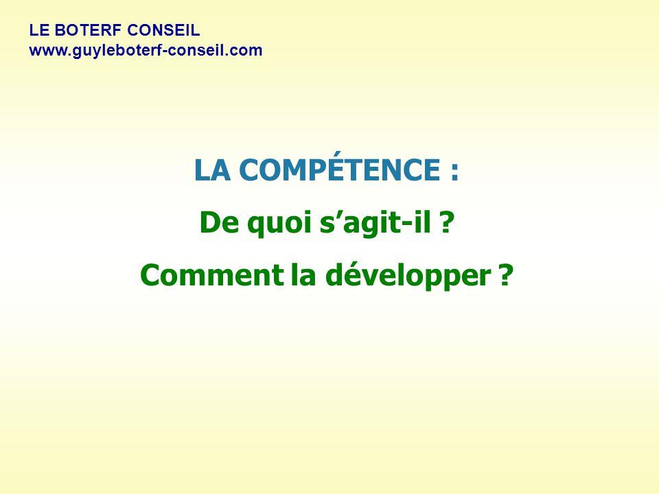 LA COMPÉTENCE : De quoi s'agit-il Comment la développer