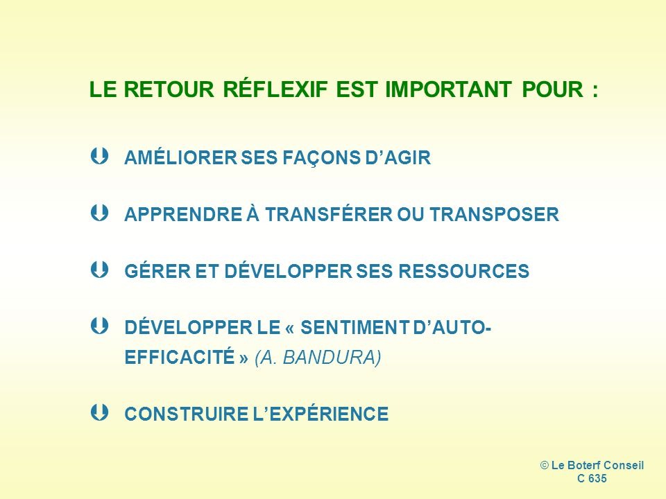 LE RETOUR RÉFLEXIF EST IMPORTANT POUR :