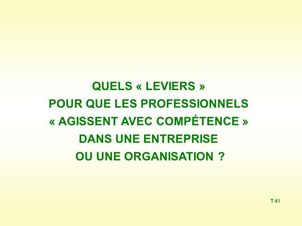 QUELS « LEVIERS » POUR QUE LES PROFESSIONNELS « AGISSENT AVEC COMPÉTENCE » DANS UNE ENTREPRISE OU UNE ORGANISATION