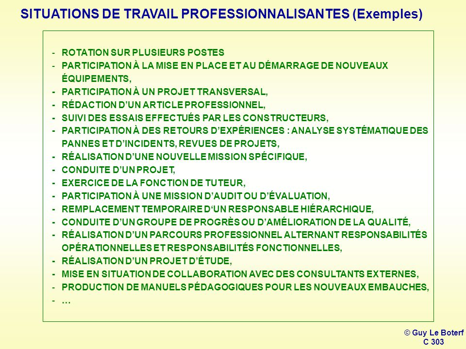 SITUATIONS DE TRAVAIL PROFESSIONNALISANTES (Exemples)