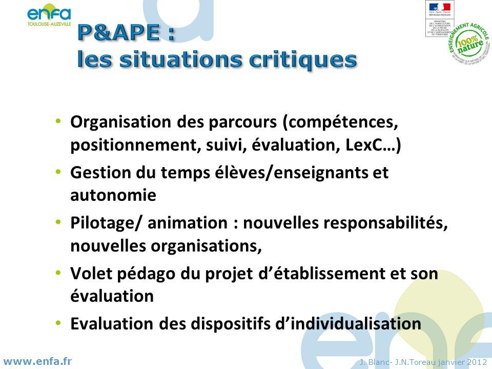 P&APE : les situations critiques