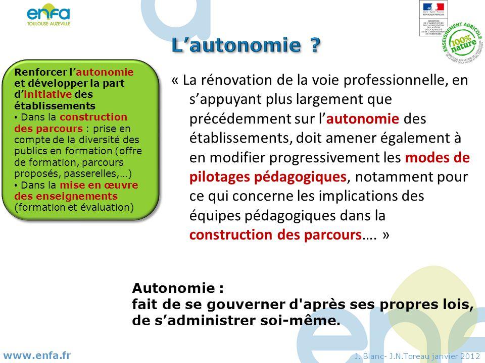 L'autonomie Renforcer l'autonomie et développer la part d'initiative des établissements.