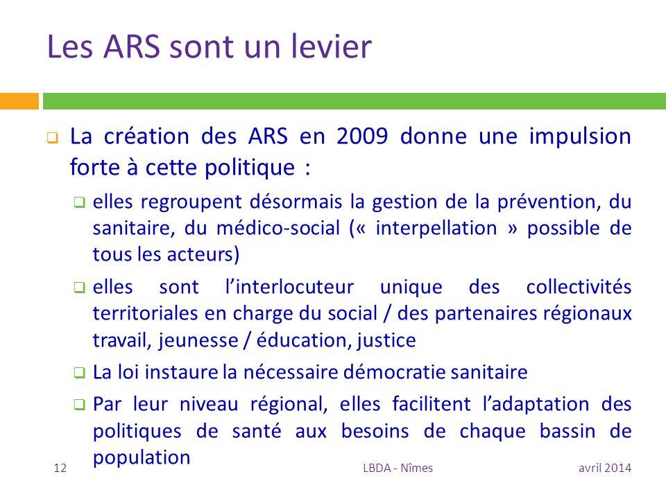 Les ARS sont un levier La création des ARS en 2009 donne une impulsion forte à cette politique :