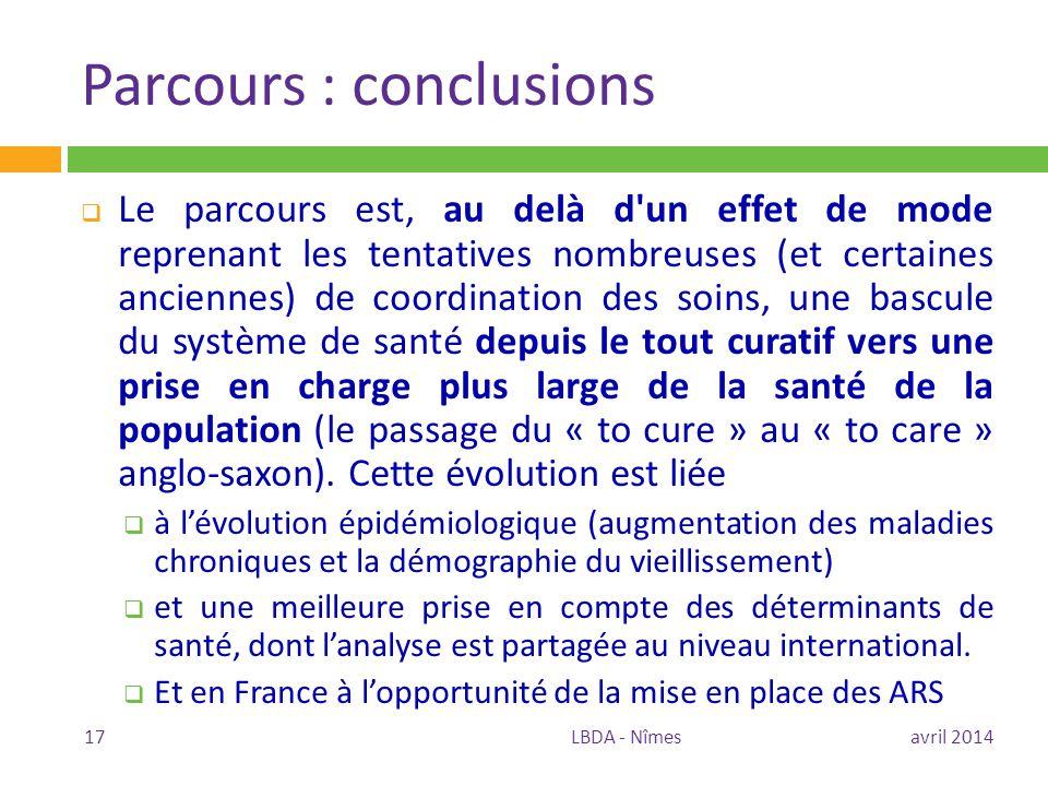 Parcours : conclusions
