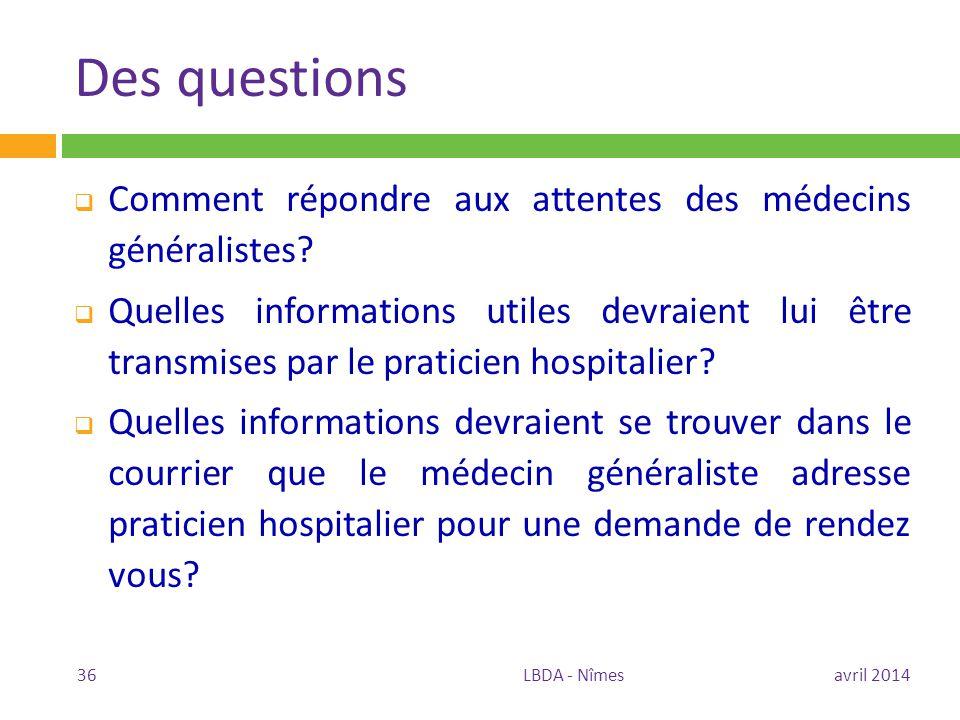 Des questions Comment répondre aux attentes des médecins généralistes