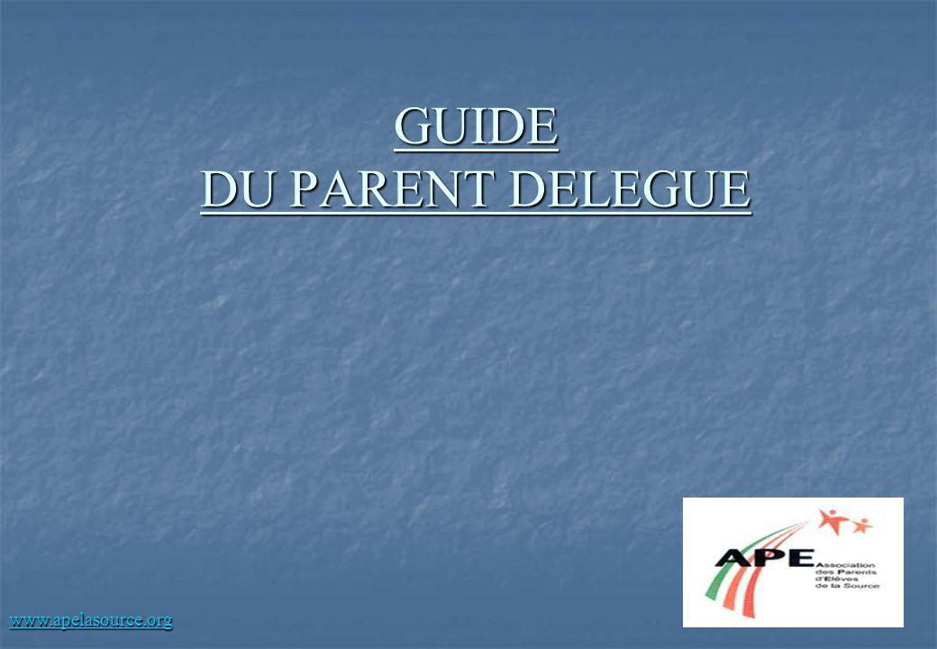 GUIDE DU PARENT DELEGUE