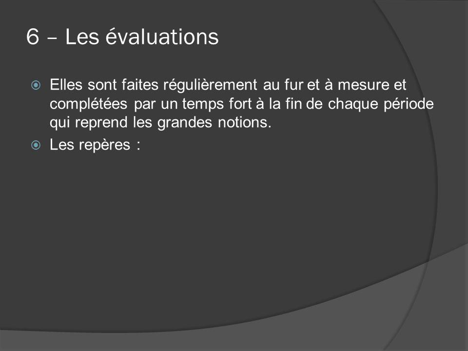 6 – Les évaluations