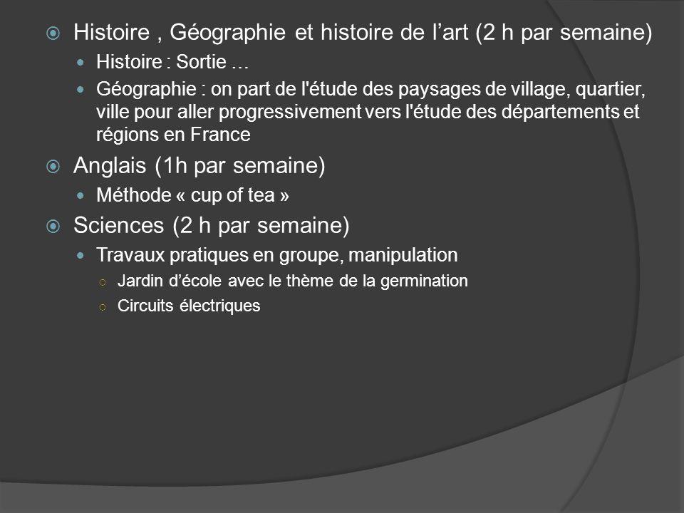 Histoire , Géographie et histoire de l'art (2 h par semaine)