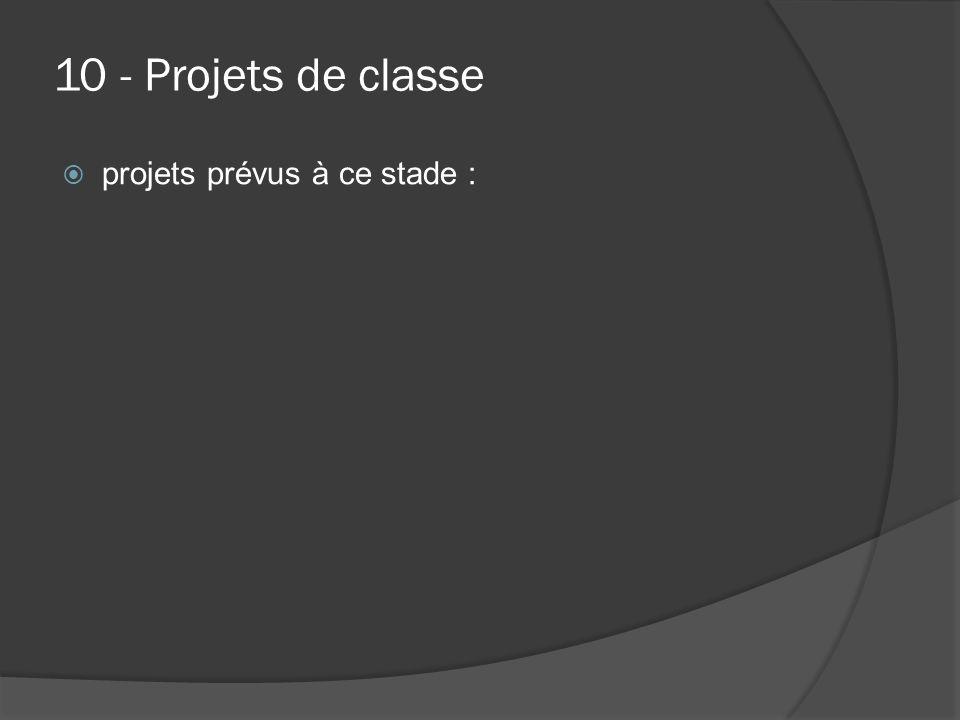 10 - Projets de classe projets prévus à ce stade :