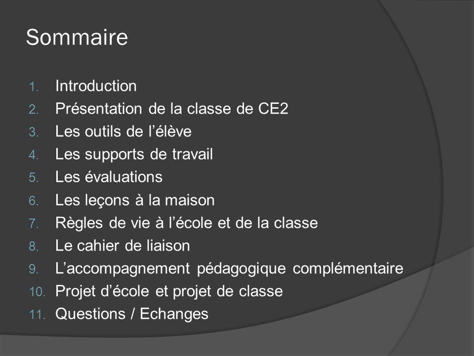 Sommaire Introduction Présentation de la classe de CE2