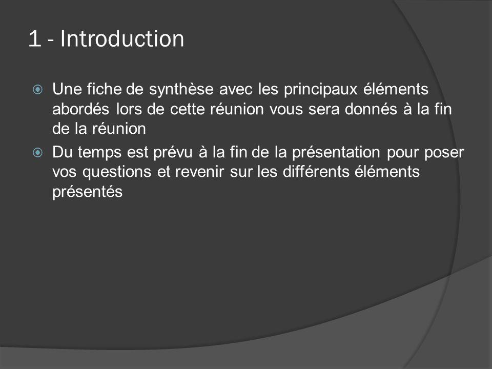 1 - Introduction Une fiche de synthèse avec les principaux éléments abordés lors de cette réunion vous sera donnés à la fin de la réunion.