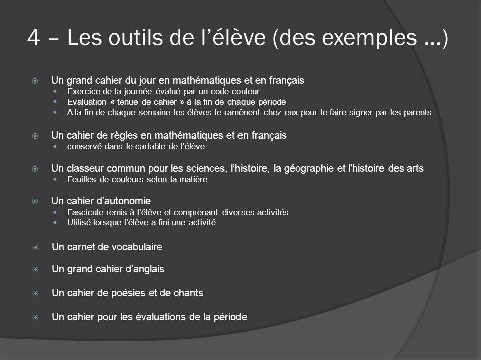 4 – Les outils de l'élève (des exemples …)
